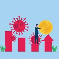 man zet munt op groeiende grafiek met virussen rond metafoor economisch herstel