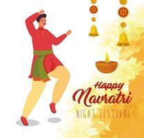 gelukkige navratri viering poster met man dansen vector