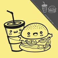schattige fastfood illustratie, vector met grappige uitdrukkingen op gele achtergrond.