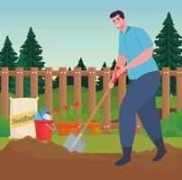 man buiten tuinieren met schop vector design