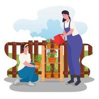 vrouwen buiten tuinieren vector