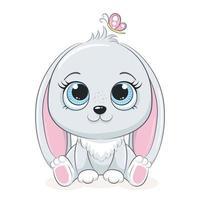 schattig konijntje met vlinder. vectorillustratie voor babydouche, wenskaart, uitnodiging voor feest, mode kleding t-shirt afdrukken. vector