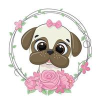 schattige zomer babyhond met bloem krans. vector illustratie