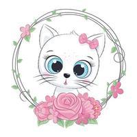 schattige zomer baby kat met bloem krans. vector illustratie