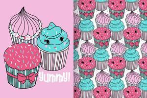 hand getekend schattige cupcake met patroon ingesteld