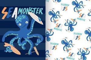 hand getekend schattige octopus met patroon ingesteld
