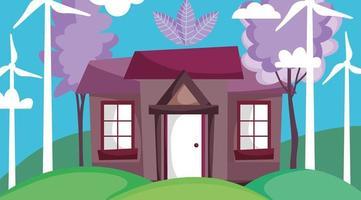huis met windmolensenergie voor ecologieconcept vector