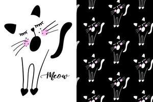 hand getekend schattig katje met patroon ingesteld