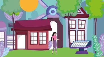 huizen met windmolensenergie voor ecologieconcept vector