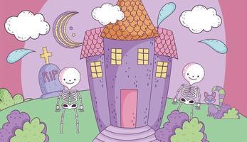 schattige halloween-poster met skeletten