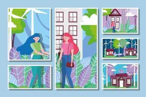 vrouwen met windmolensenergie voor ecologieconcept vector