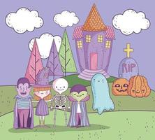 schattige halloween-poster met kleine karakters