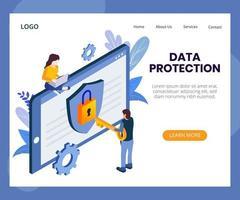 gegevensbescherming concept isometrische illustratie