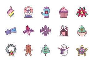 vrolijk kerstfeest pictogramserie