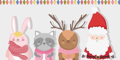 vrolijke kerstaffiche met vrolijke karakters vector