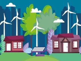 huizen en stadsgezicht met windturbines en zonnepanelenergie voor ecologieconcept