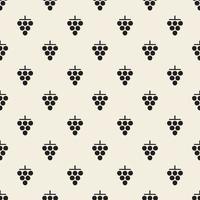 naadloze zwart-wit druiven stempel patroon achtergrond vector