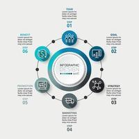 cirkeldiagrammen met 6 workflows. kan worden gebruikt voor bedrijfs- of bedrijfsreclame.