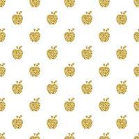 naadloze gouden appel glitter stempel patroon achtergrond