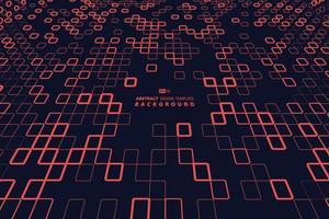 abstract rood vierkant van technologieontwerp op donkere zwarte achtergrond van het malplaatje. illustratie vector