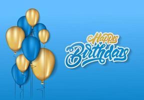 gelukkige verjaardag in belettering stijl achtergrond viering ontwerp voor wenskaart, poster of het spandoek met ballon, confetti en verlopen.