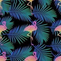 naadloos tropisch patroon met flamingo's en palmblad