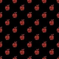 naadloze rode glitter appel patroon achtergrond