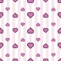 naadloze Valentijnsdag patroon achtergrond met glitter laag hart stempel vector