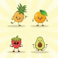 aardbei, sinaasappel, avocado, ananas schattige expressie set collectie.