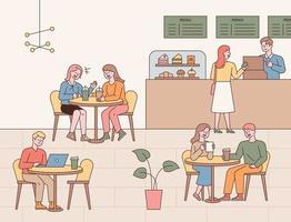 café interieur interieur en gasten. mensen aan tafel drinken koffie, kletsen met vrienden en iemand bestelt koffie bij de kassa.