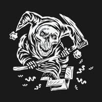 hand getrokken april dwazen dag vector. schedel clown grim reaper conceptontwerp vector