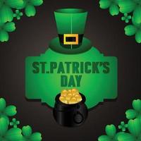 st. patrick's day pot met goud en klavers vector