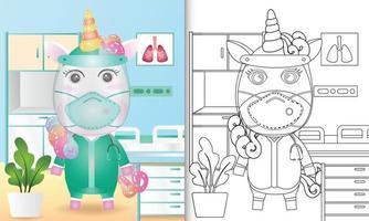 kleurboek voor kinderen met een schattige illustratie van het eenhoornkarakter vector