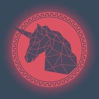 geometrisch eenhoornhoofd. antieke stijl. vector