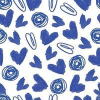 naadloze Valentijnsdag patroon achtergrond met blauwe inkt hart