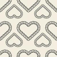 naadloze Valentijnsdag patroon achtergrond met zwart-wit hart van klassiek touw