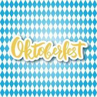handgeschreven letters oktoberfest op ruitvormige blauwe en witte achtergrond. vector
