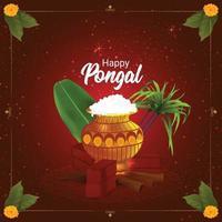 pongal wenskaart of banner ontwerpconcept vector