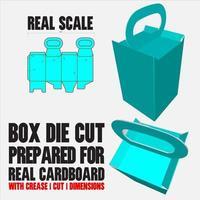 container gestanste sjabloon met 3D-voorbeeld georganiseerd met knippen, vouwen, model en afmetingen klaar om te snijden en af te drukken, op volledige schaal en volledig functioneel. voorbereid voor echt karton vector