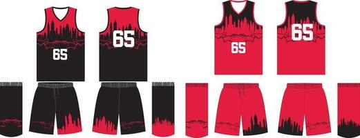 omkeerbare custom design basketbal uniformen jersey en korte broek vector
