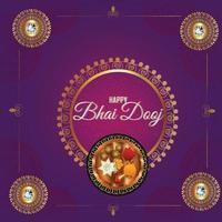 gelukkige bhai dooj achtergrond met goudsbloem en puja thali vector