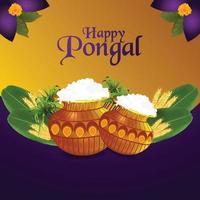 happy pongal wenskaart en banner vector
