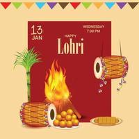 vectorillustratie van een achtergrond voor happy lohri vakantie sjabloon voor punjabi festival. vector