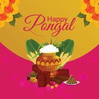 gelukkige pongal indische festivalviering vector