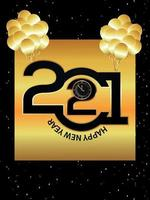 gelukkig nieuwjaar 2021 klok en ballonnen vector