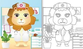 kleurboek voor kinderen met een schattige leeuw verpleegster karakter illustratie vector