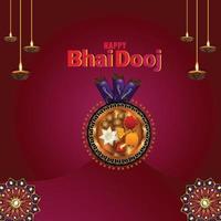 gelukkige bhai dooj creatieve illustratie en puja thali vector