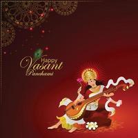 vasant panchami creatieve achtergrond met saraswati veena vector