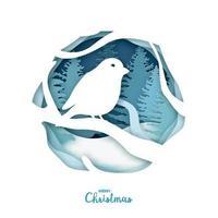 papierkunst, vogel op boomtak in winter woud. origami concept aard. vrolijk kerstfeest.