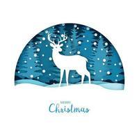 vrolijke kerstkaart. witte herten in het sneeuwbos. wenskaartsjabloon in papier gesneden ambachtelijke stijl. origami concept. vector